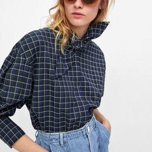 Zara Blue Checkered Tie Collar Neck Blouse M